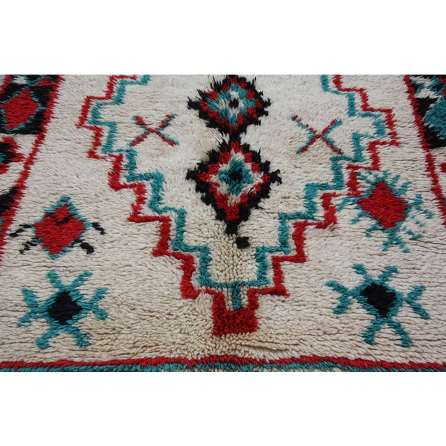 "Red & Turquoise Moroccan Rug - 8'6"" X 3'8"" - Image 5 of 5"