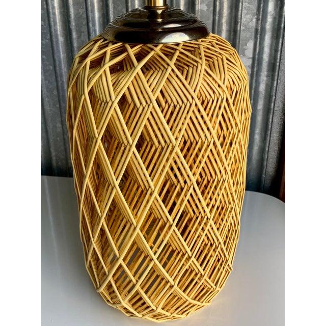 Vintage Mid Century Modern Woven Rattan Table Lamp   Chairish