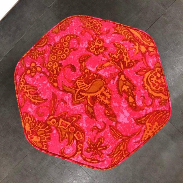 Orange Vintage 1950's Modernist Pink and Orange Velvet Iron Footstool / Ottoman For Sale - Image 8 of 9