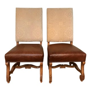 Chenille & Leather Host Chairs - A Pair