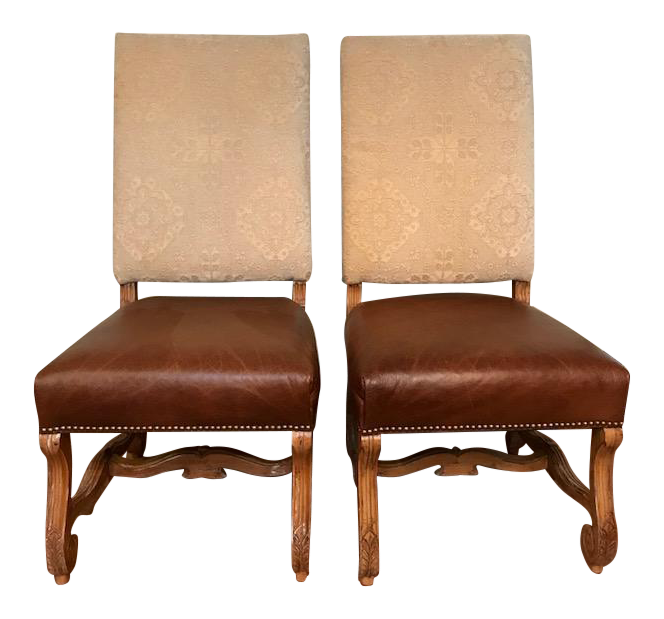 Chenille U0026 Leather Host Chairs   A Pair