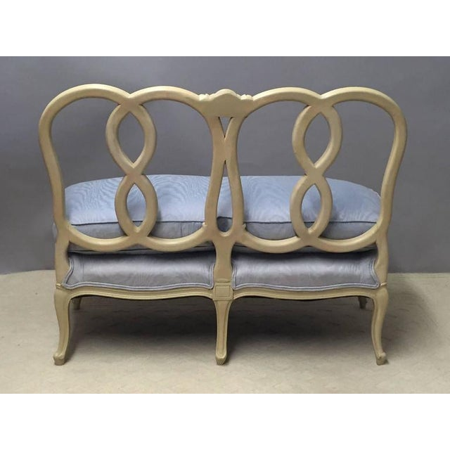 Hollywood Regency Hollywood Regency Style Painted Wood & Down Cushion Loveseat For Sale - Image 3 of 5
