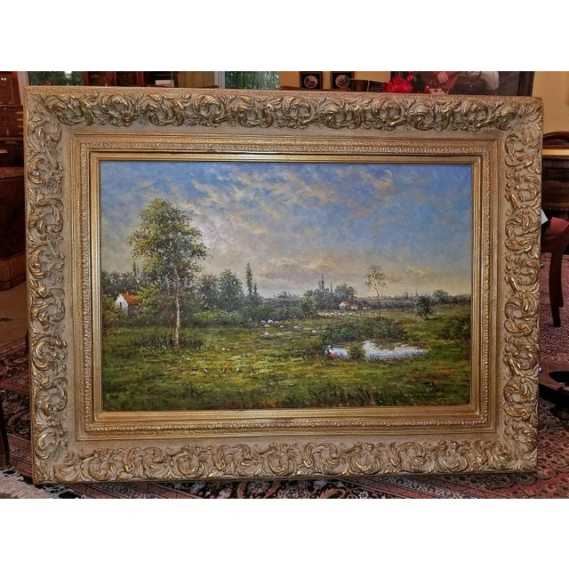 Gray Large Dutch School Landscape Oil Painting on Canvas by Jack Lanze For Sale - Image 8 of 8