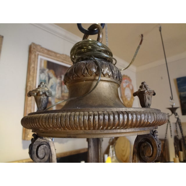 French French Iron and Carved Wood Chandelier For Sale - Image 3 of 11