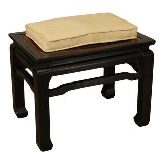 Mid Century Ebonize & Walnut Reversible Stool Taboret Low Table For Sale