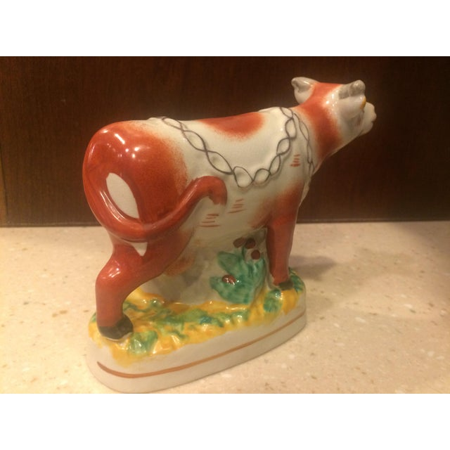 English Staffordshire Style Ceramic Cow Figurine For Sale - Image 3 of 7