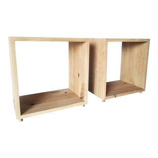 Oz shop Bench Made Cube Cut-out Side Tables in Natural Oak and Brass Feet - a Pair For Sale