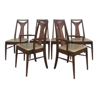 Set of 6 Mid Century Modern Walnut Dining Chairs For Sale