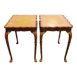 Pair Vintage French Country Leather Top Tall End Tables W Clover Type Design For Sale