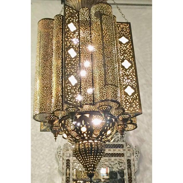 Islamic Large Moroccan Moorish Brass Chandelier For Sale - Image 3 of 13