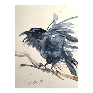 Original Raven Watercolor Painting