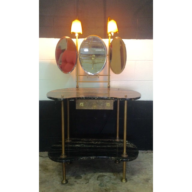 Italian Marble & Brass Lighted Vanity - Image 8 of 11