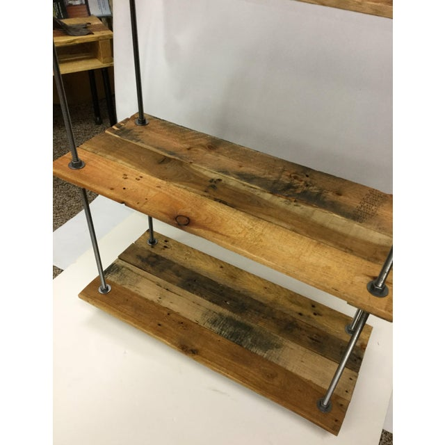 Contemporary Adjustable Height Industrial Style 3-Shelf Pallet Wood Bookcase For Sale - Image 3 of 13