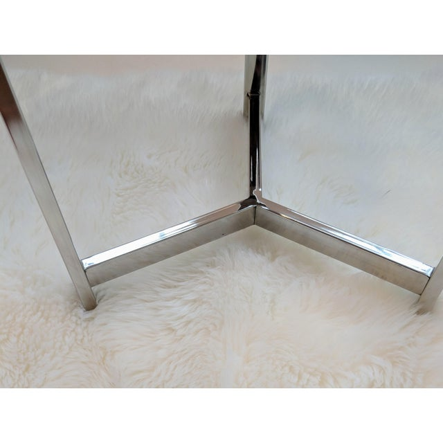 Jonathan Adler Inspired Organic White Agate Accent Table With Chrome Legs For Sale - Image 11 of 13