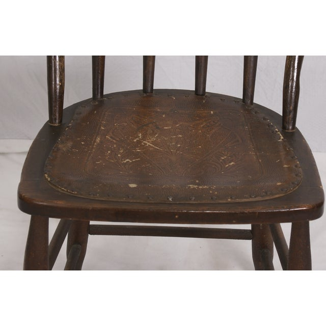 Windsor Chair Tooled Leather Seat Pierced Bib - Image 5 of 6