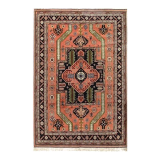 "Pasargad Afghan Salmon Hand Knotted Rug - 6′8"" × 9′8″ For Sale"