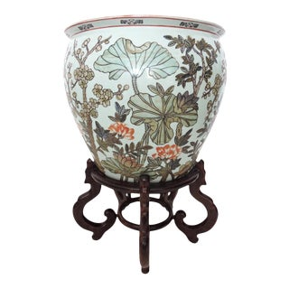 Large Chinese Porcelain Lotus & Goldfish Bowl / Planter on Rosewood Stand For Sale