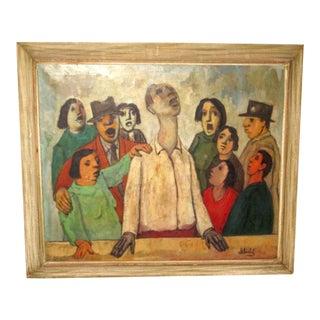 1950s Vintage Frank Kleinholz Large Oil Painting For Sale