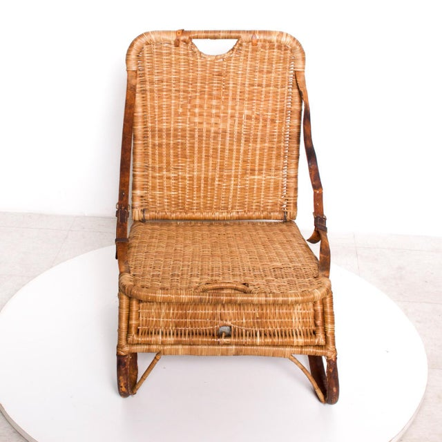 For your pleasure an amazing compact portable traveling chair in wicker/rattan and leather Reference # SEATGM12181909 Mid-...