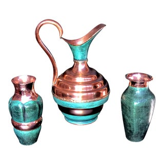 1920 Era Antique Hammered Copper Vases & Pitcher - Set of 3