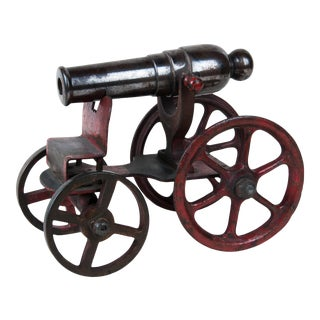 Late 19th / Early 20th Century Cast Iron and Polished Steel, Painted Model Cannon For Sale