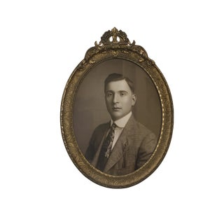 Antique Victorian Oval Framed Sepia Wall Portrait of a Man Photograph For Sale