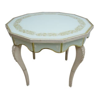 Vintage Custom French Regency Venetian Glass Table For Sale