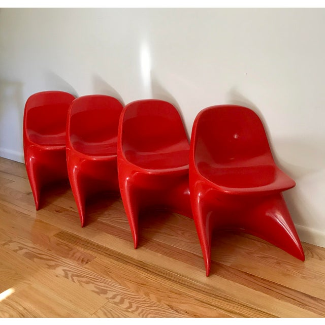 1970s Space Age Casala Casalino Red Stacking Child's Chairs - Set of 4 For Sale - Image 12 of 12