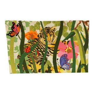 Vintage 90's Tropical Rainforest Needlepoint Art For Sale
