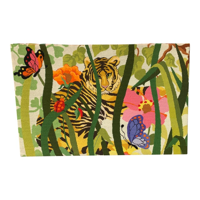 Vintage 90's Tropical Rainforest Needlepoint Art For Sale