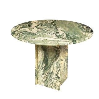 1960s Italian Calacatta Verde Marble Round Table For Sale