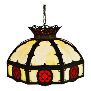 Art Deco Slag Glass and Brass Hanging Pendant Chandelier