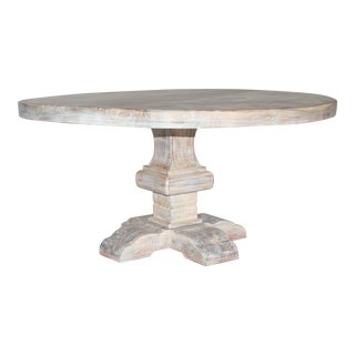 Farmhouse Solid Wood White Wash Round Dining Table For Sale