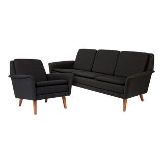 Dux Danish Modern Black Sofa & Lounge Chair - 2 Pc. Set For Sale