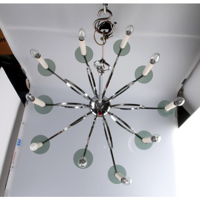 Chrome Vintage Chrome and Lucite Chandelier For Sale - Image 7 of 7
