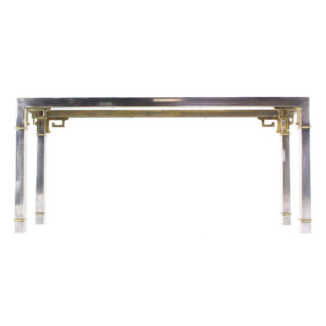 Brass Chrome Brass & Glass Console Table by Mastercraft For Sale - Image 7 of 9