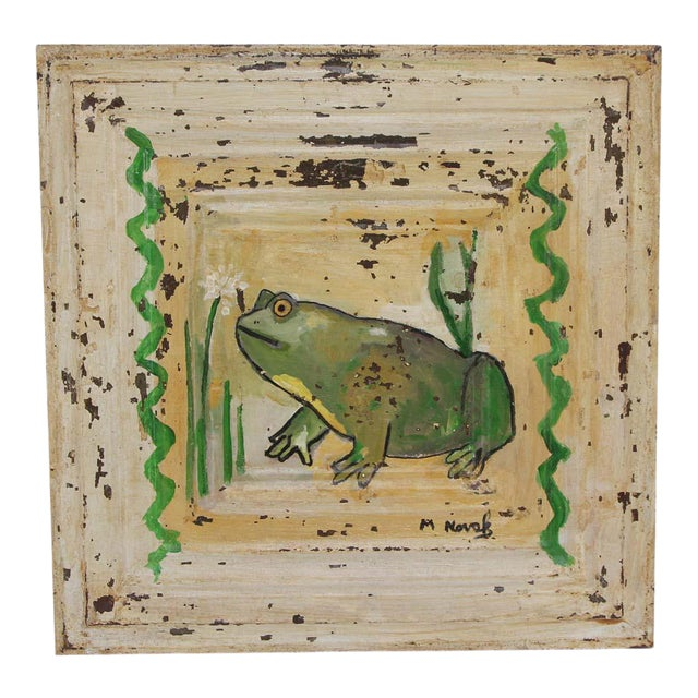 Mladen Novak Acrylic Frog Painting on Antique Tin Panel For Sale