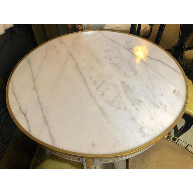 Metal Pair Large Hollywood Regency Painted Bronze Mounted Bouiliotte Center End Tables For Sale - Image 7 of 13