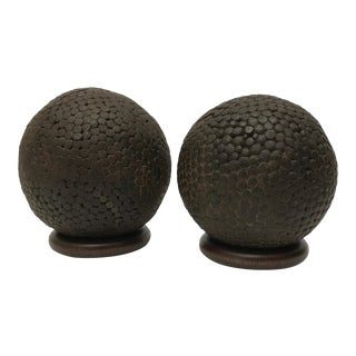 Antique French Pentanque Balls - A Pair For Sale