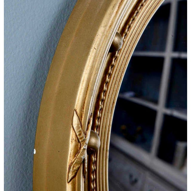 1920s Gilded Round Frame Mirror with Beaded Trim - Image 4 of 4