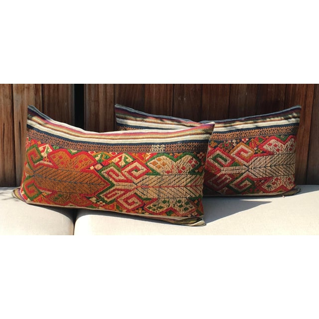 Vintage Handwoven Embroidered Pillows Northern Laos - A Pair For Sale - Image 9 of 9