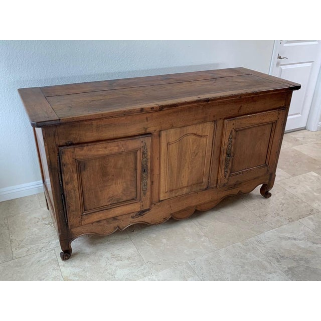 French Country Antique Rustic French Walnut Buffet For Sale - Image 3 of 13