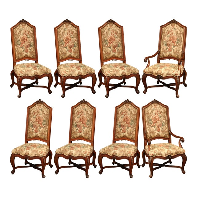 French Carved Walnut and Fruitwood Dining Chairs and Armchairs - Set of 8 For Sale