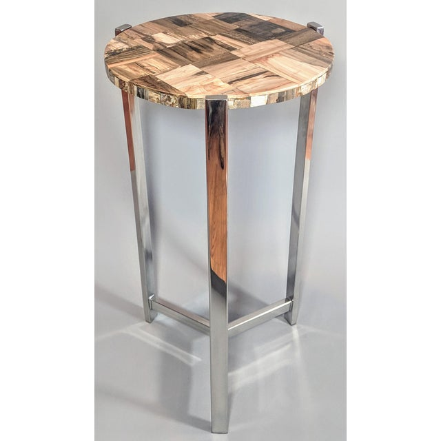 Organic Modern Petrified Wood and Chrome Side Table For Sale - Image 9 of 13