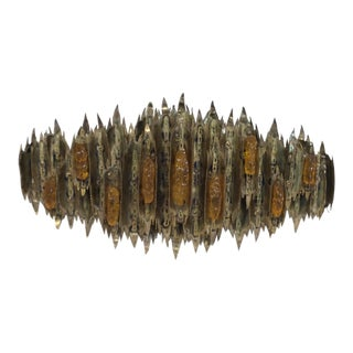 Gothic Brutalist Metal & Acrylic Torch Work Wall Sculpture For Sale