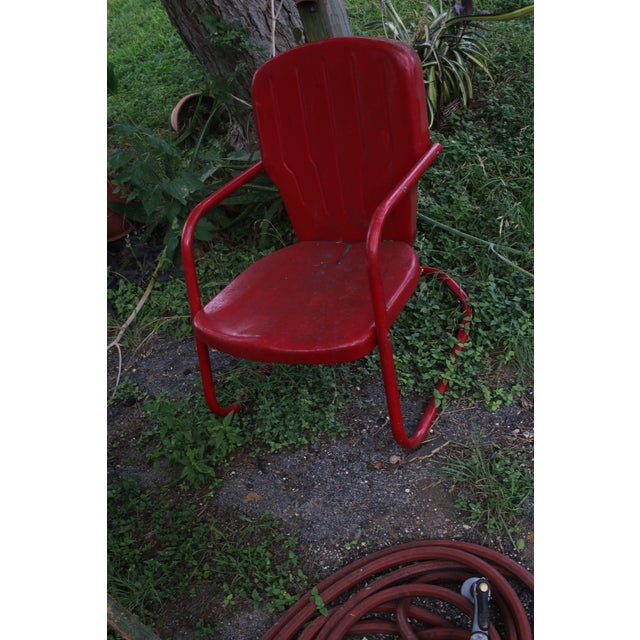 Metal Vintage Metal Patio Glider & Two Chairs - Set of 3 For Sale - Image 7 of 10