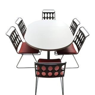 1980s Memphis Chrome, Lucite and Red Vinyl Dining Set - 7 Pieces For Sale
