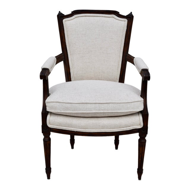 Louis XVI French Walnut Fauteuil Accent Chair For Sale