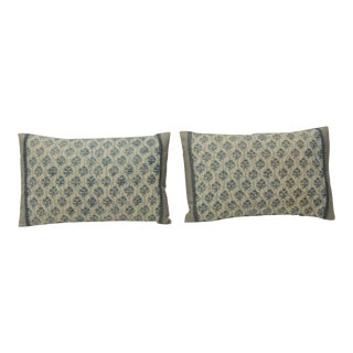 1940s Italian Blue and White Fortuny Lumbar Decorative Pillows - a Pair For Sale