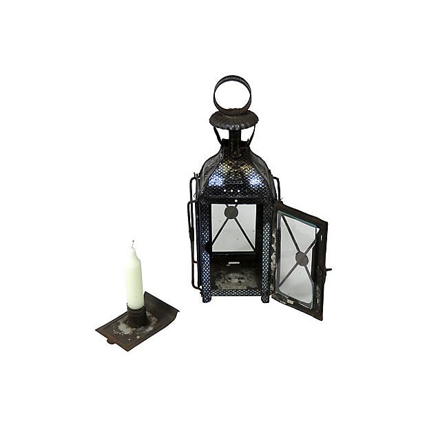 American 1880s Antique Tin Candle Lantern For Sale - Image 3 of 6